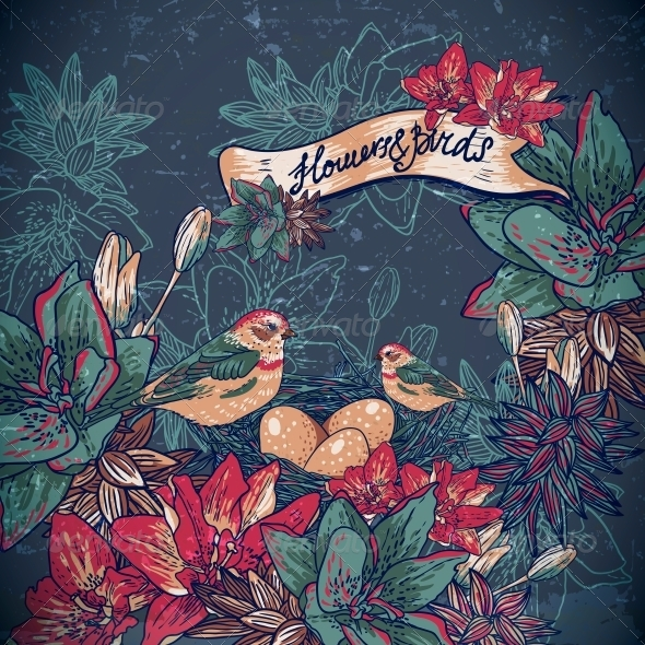 GraphicRiver Vintage Floral Background with Birds 6459456
