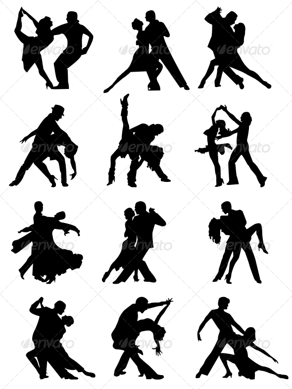 GraphicRiver Set of Silhouettes of Dancing Couple 6459466