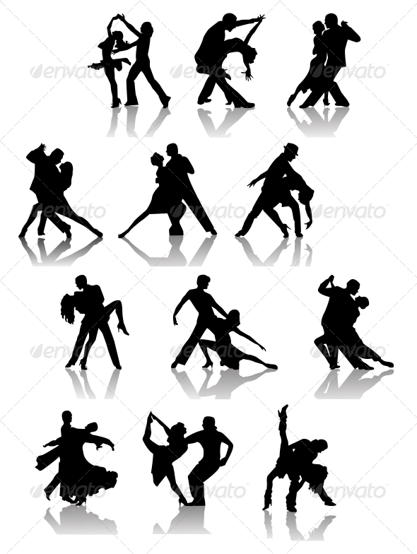 Set of Silhouettes of Dancing Couple