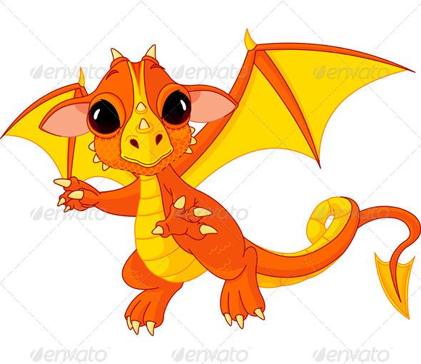 GraphicRiver Cartoon Baby Dragon 6459493