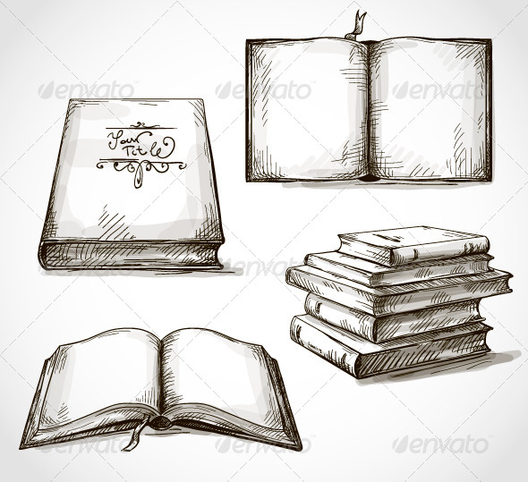 GraphicRiver Set of Old Books Drawings 6459870
