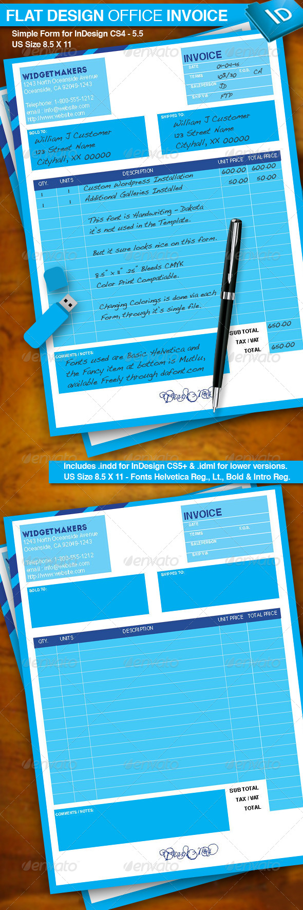 GraphicRiver Flat Design Office Invoice 6426195