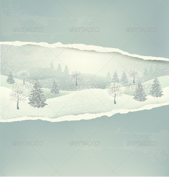 GraphicRiver Retro Holiday Christmas Background with Winter 6460141