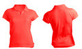 Women's Blank Red Polo Shirt Template