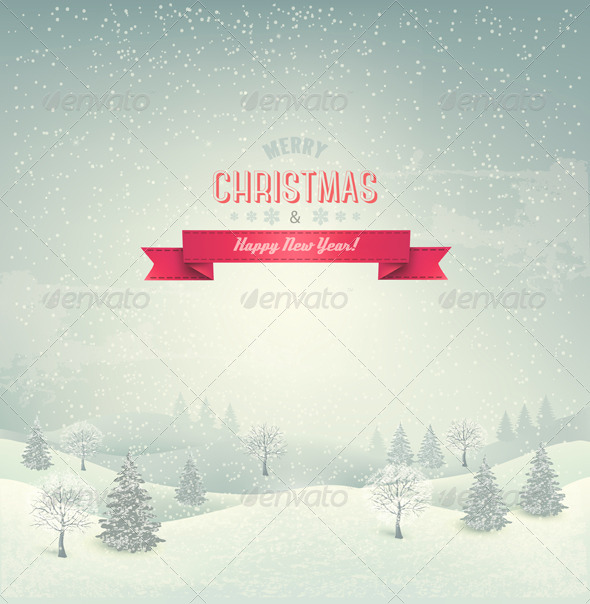 GraphicRiver Retro Holiday Christmas Background 6460152