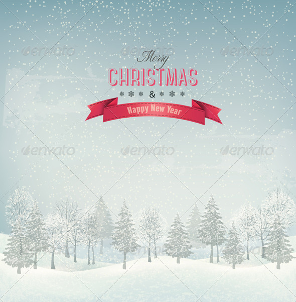 GraphicRiver Christmas Winter Landscape Background 6460155