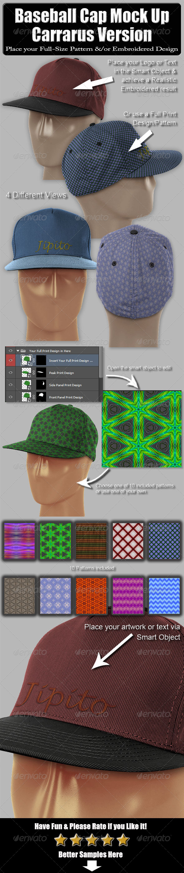 GraphicRiver Baseball Cap Mock Up-Carrarus Version 6460284