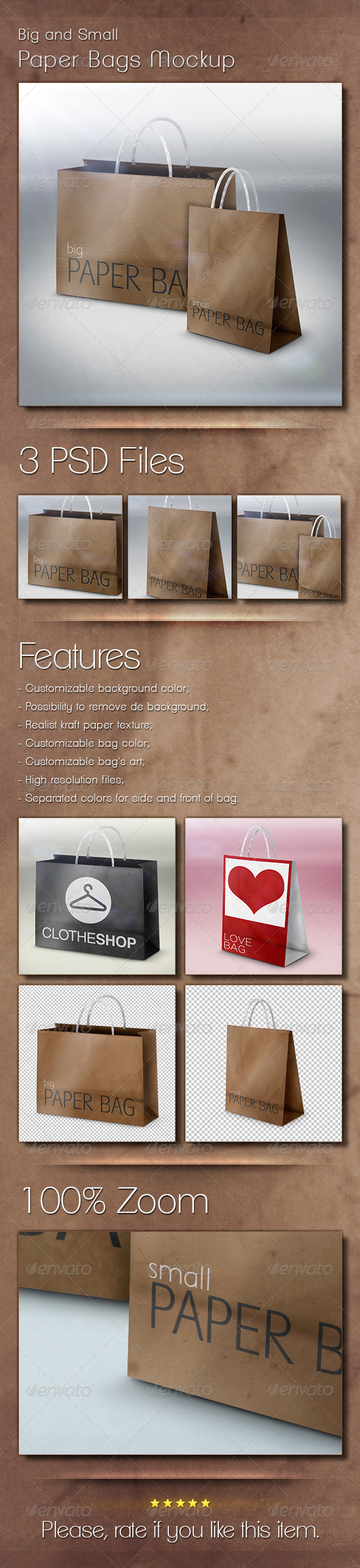 GraphicRiver Big and Small Paper Bags Mockup 5373944