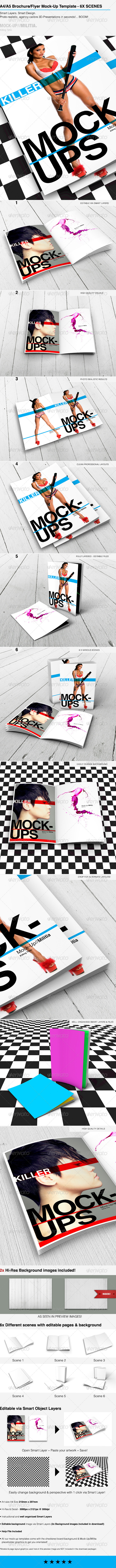 GraphicRiver A4 Brochure Mock-Up Template With Various Scenes 6432215