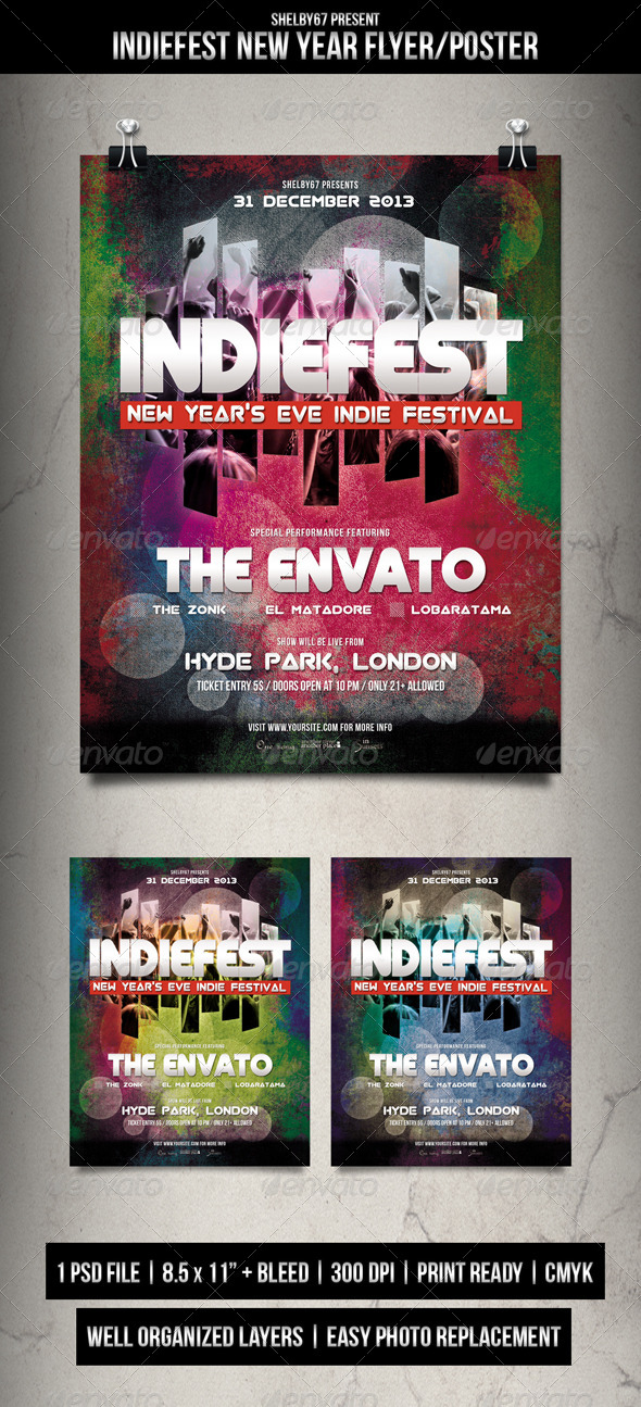 GraphicRiver Indie Fest New Year Flyer Poster 6384056
