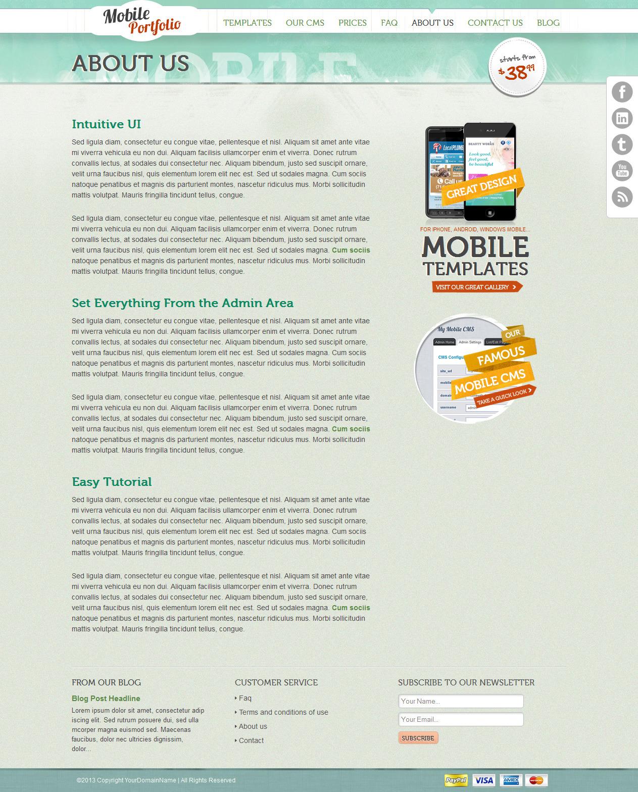Grungy Mobile Portfolio HTML Theme