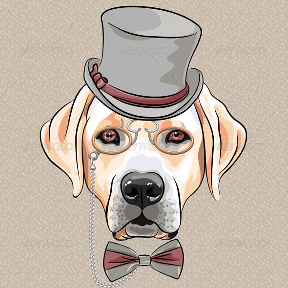 GraphicRiver Cartoon Hipster Dog Labrador Retriever 6461564