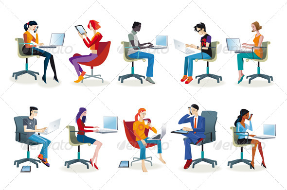 GraphicRiver Set of People Working Sitting 6461593