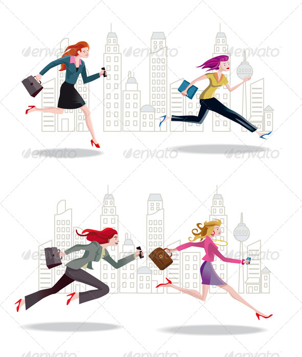 GraphicRiver Businesswomen Running in the City 6461796