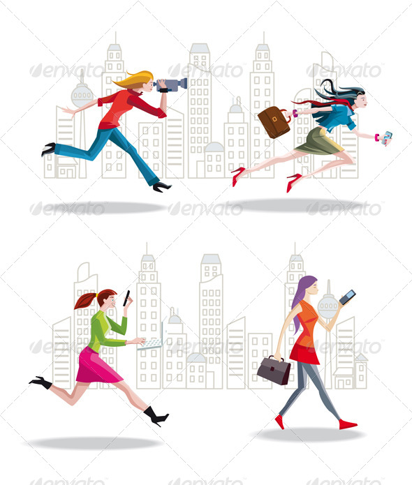 GraphicRiver Entrepreneurs Women Running in the City 6461803