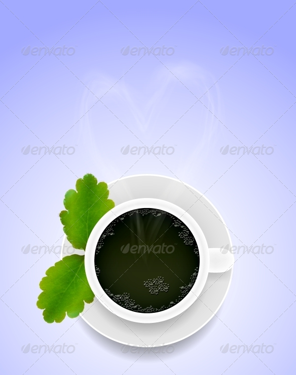 GraphicRiver Vector Cup of Tea with Green Leaf 6462043
