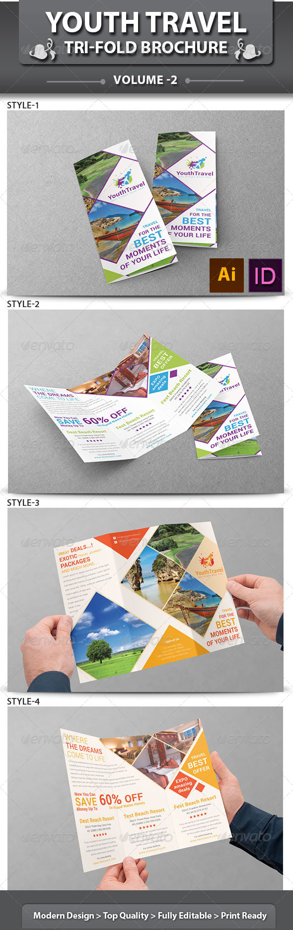 GraphicRiver Youth Travel Tri-Fold Brochure v2 6462176