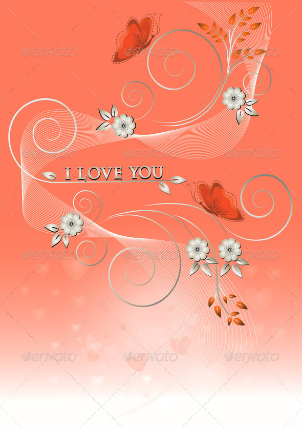 Card with Flowers and Butterflies to Valentine's Day. - Stock Photo - Images