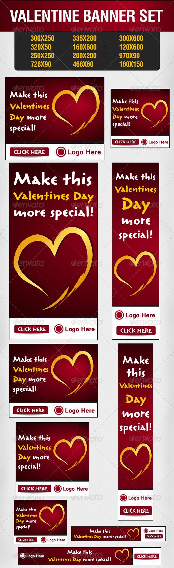 GraphicRiver Valentine Banner Set 6462290