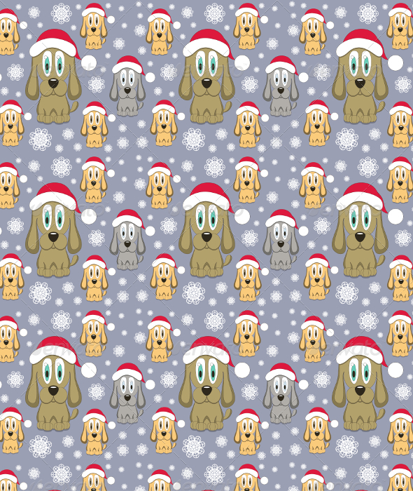GraphicRiver Vector Christmas Dog Seamless Pattern 6462354