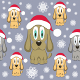 Vector Christmas Dog Seamless Pattern