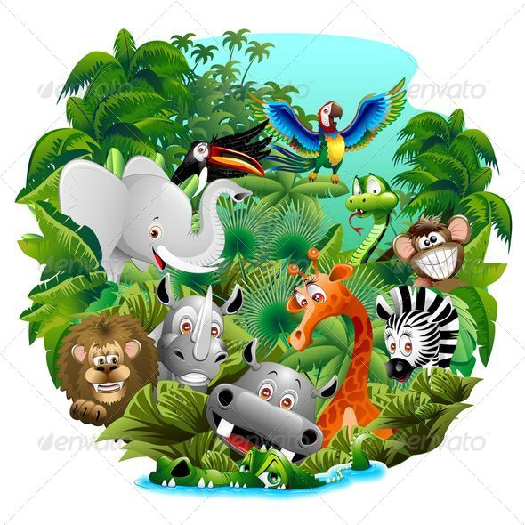 GraphicRiver Wild Animals Cartoon on the Jungle 6462460