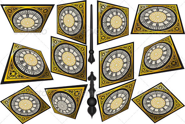GraphicRiver Set of Victorian Clocks with Lancets 6462507