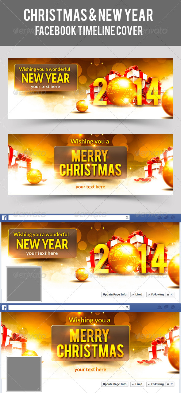 GraphicRiver Christmas & New Year Facebook Timeline Cover 6462857