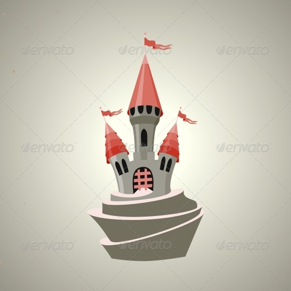 Cartoon Fortified Castle with Flags