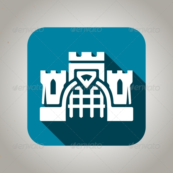 Flat Blue Castle Icon