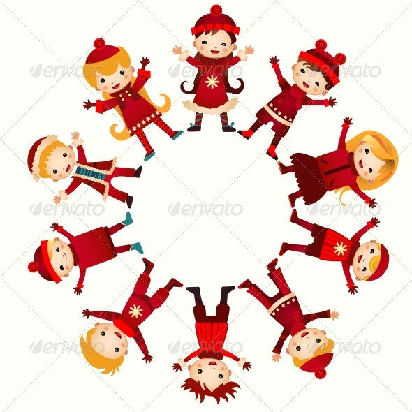 GraphicRiver Christmas Children in Circle 6462902