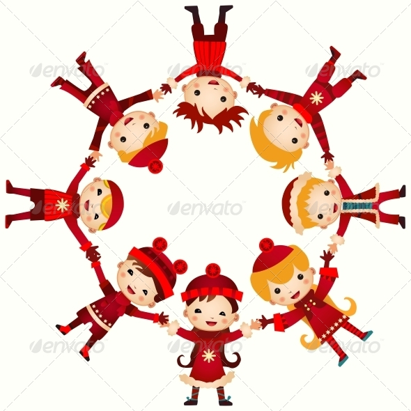 GraphicRiver Christmas Children in Circle 6462903