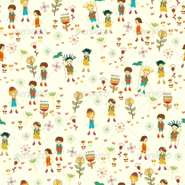 GraphicRiver Bright Nature Seamless Pattern in Cartoon Style 6462916