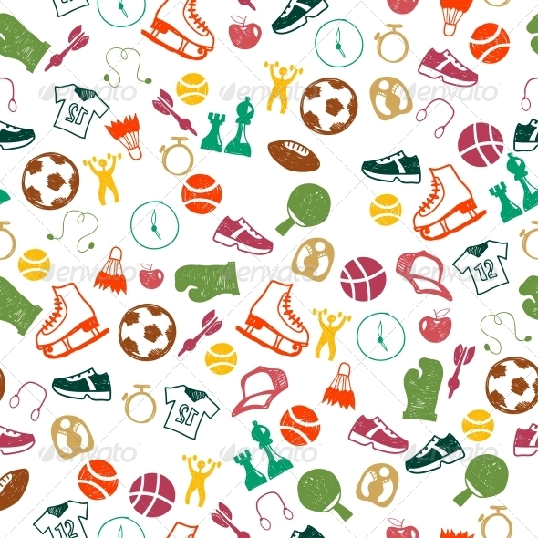 GraphicRiver Seamless Pattern with Sport Icons 6462923
