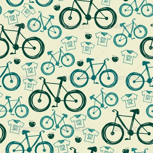 GraphicRiver Vector Seamless Pattern with Bicycles 6462932