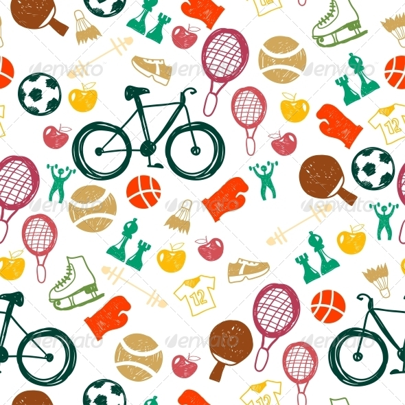 GraphicRiver Seamless Pattern with Sport Icons 6462935