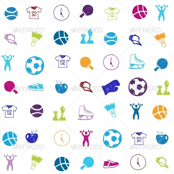 GraphicRiver Vector Bright Sports Icons Set 6462939
