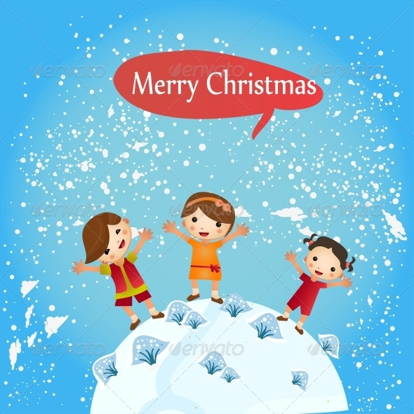 GraphicRiver Group of Children-Winter Boys and Girls 6462952