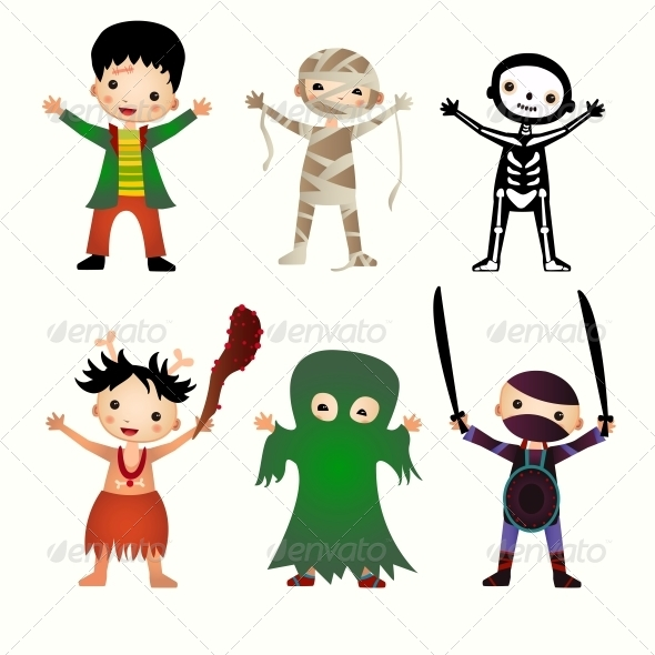 GraphicRiver Illustration of Kids in Halloween Costumes 6462977