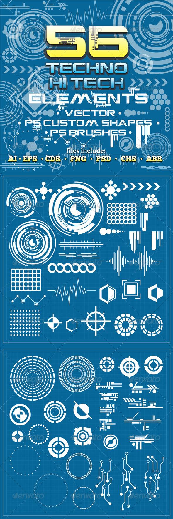 GraphicRiver 56 Techno & Hi Tech Elements v2 6463588
