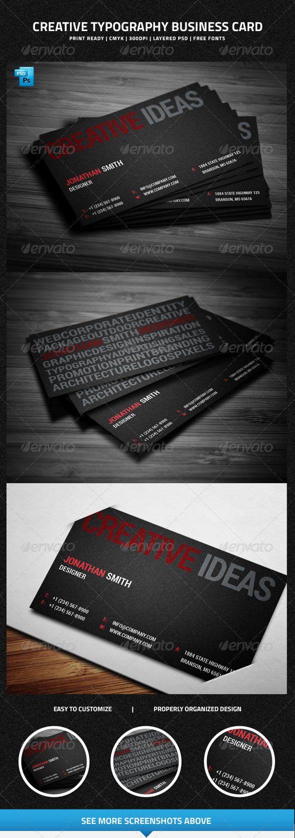 GraphicRiver Creative Typography Business Card 6464055