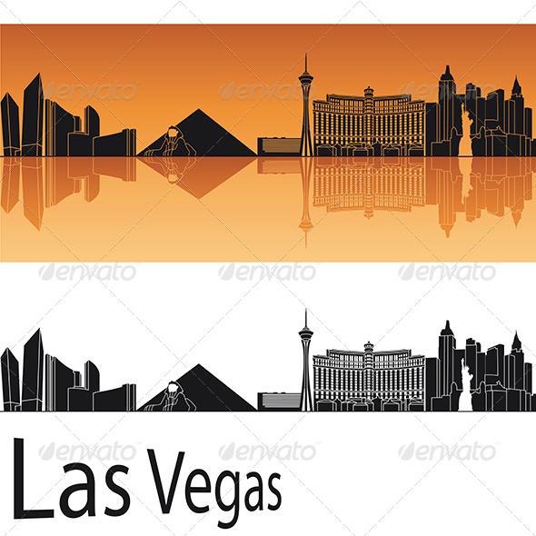 Las vegas skyline in orange background by paulrommer for Las vegas skyline tattoo