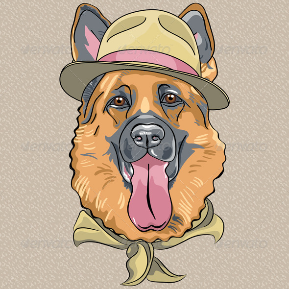 GraphicRiver Hipster Dog German Shepherd 6464650