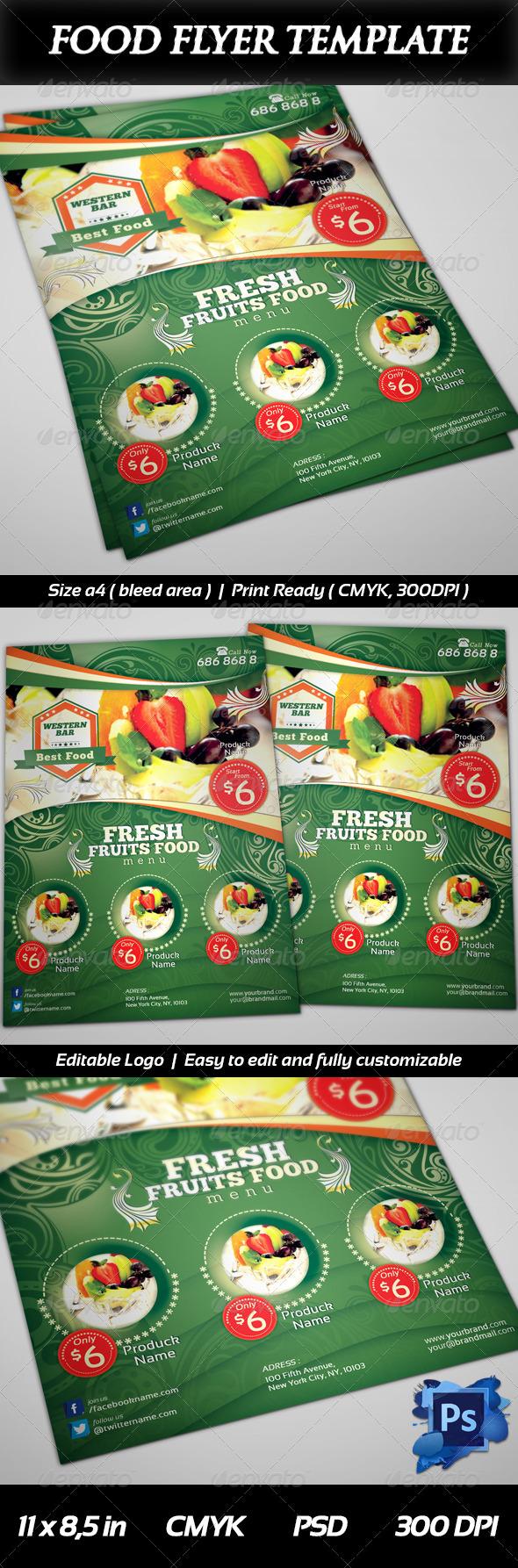 GraphicRiver Fresh Fruits Menu Food Flyer 6423272