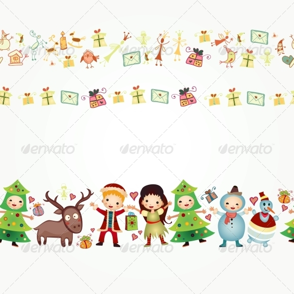 GraphicRiver Border with Children and Gifts 6464857