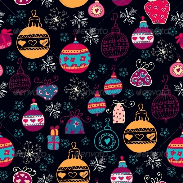 GraphicRiver Bright Pattern with Christmas Toys 6464892