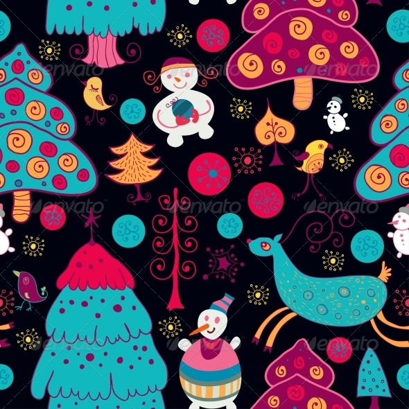 GraphicRiver Bright Pattern with Christmas Toys 6464908