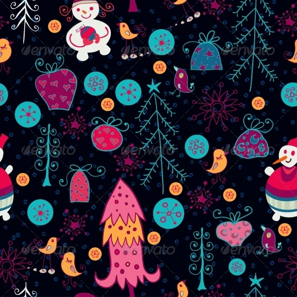 GraphicRiver Bright Pattern with Christmas Toys 6464913
