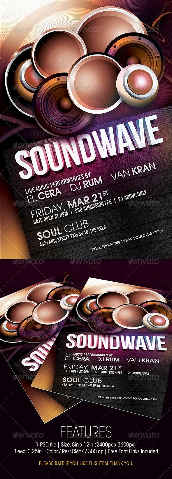 GraphicRiver Soundwave Party Flyer 6464935