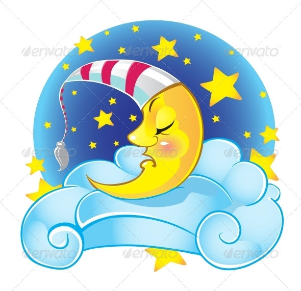GraphicRiver Sleeping Yellow Moon in Cap on the Cloud 6464986